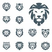 Tiger And Lions Vector Head Face Silhouette Badge Strength Predator Power Wildcat Illustration Power poster