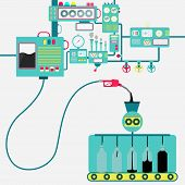 Machinery Of Factory Refining Oil And Bottling Oil. Oil Industry. Conceptual. poster