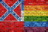 Brick Wall Mississippi And Gay Flags - Illustration, Rainbow Flag On Brick Textured Background,  Abs poster