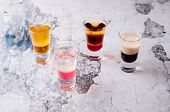 Set Of Strong Alcoholic Drink In Shot Glasses Shooters, Shots On Background Restaurant. Bar Alcoholi poster