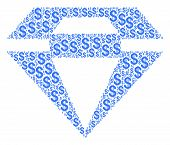 Diamond Collage Of Dollars. Vector Dollar Currency Pictograms Are Organized Into Diamond Collage. poster