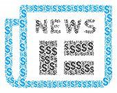 Newspaper Composition Of Dollar Symbols. Vector Dollar Symbols Are Organized Into Newspaper Composit poster