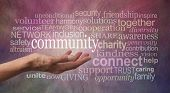 Get Involved With Your Community Word Tag Cloud - Female Open Palm Hand Against Rustic Stone Effect  poster