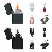 Lighter, Economical Light Bulb, Edison Lamp, Kerosene Lamp.light Source Set Collection Icons In Cart poster
