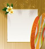Frangipani flowers, surfboards and banner on a wooden wall - resort & travel illustration. (Vector v