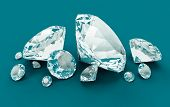 Blue Diamonds isolated on blue