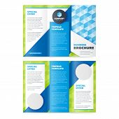 Trifold Business Brochure Design Template. Vector Flyer, Leaflet Or Booklet Design. Tri Fold. poster