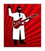 Science revolution, red vector poster scientist