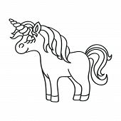 Fantasy Unicorn Black Outline Sketch Icon On The White Background poster