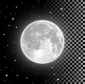 Bright Full Moon In The Clear Night Sky And Isolated On Transparent Background. Realistic Full Moon  poster