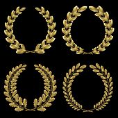 Set From  Gold Laurel And Oak Wreath