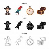 Pirate, Bandit, Hat, Bandage .pirates Set Collection Icons In Cartoon, Black, Outline Style Vector S poster