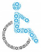 Disabled Person Collage Of Cogwheels. Vector Gear Symbols Are Organized Into Disabled Person Collage poster