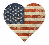 Heart Shaped Old Grunge Vintage Dirty Faded Shabby Distressed American Us National Flag Isolated On  poster