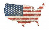 Us Map Shaped Old Grunge Vintage Dirty Faded Shabby Distressed American National Flag Isolated On Wh poster