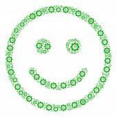 Glad Smiley Composition Of Cog Wheels. Vector Cog Parts Are Organized Into Glad Smiley Figure. poster