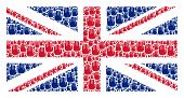 English Flag Collage Constructed Of Stop Hand Icons. Vector Stop Hand Icons Are United Into Geometri poster