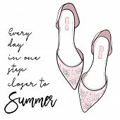 Summer Quote. Elegant Fashion Shoes, Sandals, Flats Vector Illustration poster