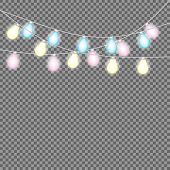 Set Of Overlapping, Glowing String Lights.  Christmas Glowing Lights. Garlands, Christmas Decoration poster