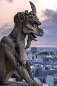 Shabby Stone Statue Of Gargoyle In Notre-dame Cathedral With Background Of Paris City In Sunset Ligh poster