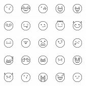 Emoticon Outline Icons Set. Linear Style Symbols Collection, Line Signs Pack. Vector Graphics. Set I poster
