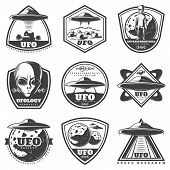 Vintage Monochrome Ufo Labels Set With Alien Spaceships Unknown Planets Extraterrestrial Life Forms  poster