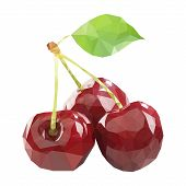Polygonal Cherry In Vector, Low Poly Style Cherry. Three Cherries poster