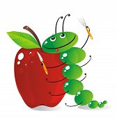 image of laughable  - The amusing green caterpillar is going to have dinner the big red apple - JPG