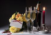 Art Romantic Card With Burning Candles And Champagne
