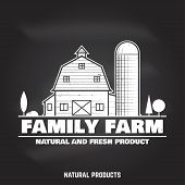 Family Farm Badges Or Labels On The Chalkboard. Vector Illustration. Vintage Typography Design With  poster