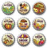 Set of cute autumnal bottlecaps