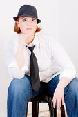 image of plus size model  - Fashionable Plus Size Model with a hat and tie - JPG