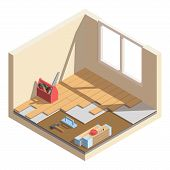 Isometric Low Poly Home Room Renovation Icon - Vector Illustration. Laying Of Laminate Or Parquet Bo poster