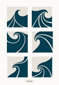 Set Water Wave Logo Abstract Design. Cosmetics Surf Sport Logotype Concept. Square Aqua Icon. poster