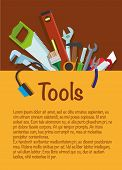 Tools. Tool Set Repair And Construction. Hammer, Wrench, Pliers, Cutter, Level Tool, Spatula, Saw, B poster