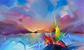 Colorful Oil Painting On Canvas Texture. Semi- Abstract Image Of Seascape Paintings With Sunlight Ba poster