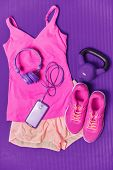 Activewear fitness clothes outfit - cute pink fashion matching clothing for girl training with weigh poster