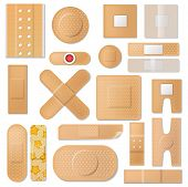 Bandage Vector Band Plaster And Medical Protection Patch For First Aid Illustration Set Of Sticky Ba poster