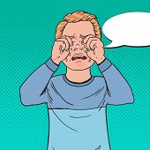 Pop Art Upset Little Boy Crying. Sad Child Cry With Tears. Screaming Kid Facial Expression. Vector I poster
