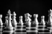 Strategy Chess Battle Intelligence Challenge Game On Chessboard. Success The Chess Strategy Concept. poster