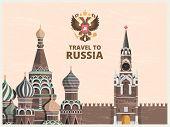 Vintage Poster Or Travel Card With Illustrations Of Kremlin Russian Cultural Landmarks. Illustration poster