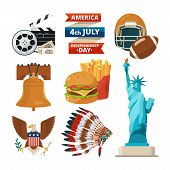 Culture Objects Of Americans Usa. Vector Illustrations In Cartoon Style. American Culture, Statue Of poster