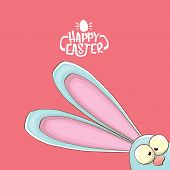Easter Bunny With Calligraphic Text Happy Easter Isolated On Pink Background. Vector Easter Greeting poster