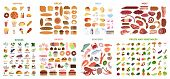 All Food Set. Meat And Vegetables, Fruits And Fast Food, Fish And Sweets. poster