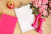 Pink Female Fitness Set Flowers Dumbbells And Notebook And Breakfast Apple poster