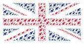 British Flag Pattern Done Of Space Rocket Launch Elements. Vector Space Rocket Launch Items Are Comp poster