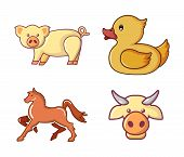 Domestic Animals Icon Set. Cartoon Set Of Domestic Animals Vector Icons For Web Design Isolated On W poster