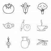 Basic Vegan Menu Icons Set. Simple Set Of 9 Basic Vegan Menu Vector Icons For Web Isolated On White  poster