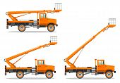 Detailed Illustration Of Aerial Platform Truck With Different Boom Position. Heavy Construction Mach poster