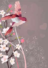 stock photo of nightingale  - Flying nightingale and blossoming tree - JPG